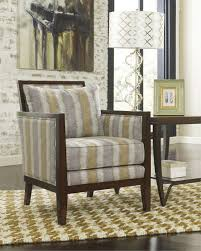 Geometric Accent Chair Rectangular Geometry Pattern Gray Fabric Sofa Chair With Varnished