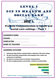worksheet u2013 promote communication in health and social care