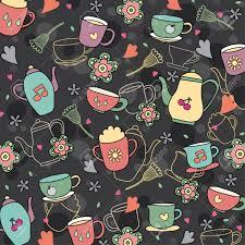 Kitchen Wallpaper Design Coffee And Tea Wallpaper Design Royalty Free Cliparts Vectors