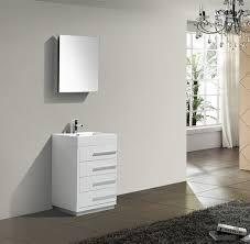 High Gloss Bathroom Vanity 24 High Gloss White Modern Bathroom Vanity W Four Drawers