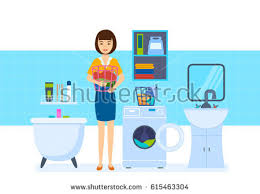 Things In The Bathroom Young Housewife Bathroom Lays Things Washing Stock Vector