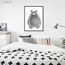 Kawaii Room Decor by Nordic Black White Kawaii Bear Poster Print Modern Abstract Wall
