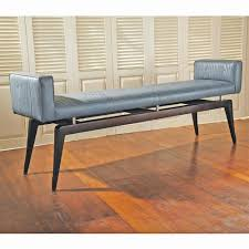 calista modern art deco wood pattern grey leather bench kathy
