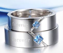 Promise Ring Engagement Ring And Wedding Ring Set by Sterling Silver Matching Couples Blue Topaz Promise Ring Set With