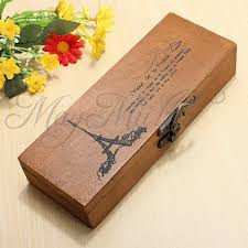 pencil boxes retro eiffel tower wood wooden pen pencil holder stationery