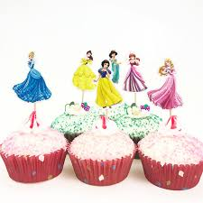 24pcs princess snow white cupcake toppers kids birthday party