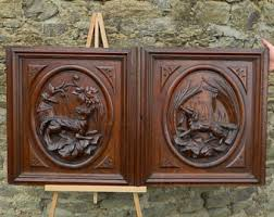 Salvaged French Doors - carved wood panel etsy