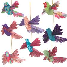 handmade paper bird ornaments ideal for the tree or for year