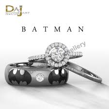 batman wedding ring set batman inspired holy smokes womens engagement by dfinejewelry on
