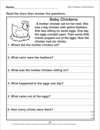 printable reading comprehension worksheets for 1st grade worksheets