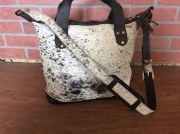 Cowhide Leather Purses Black And White Hide Handmade Cowhide Leather Tote Bag Purse