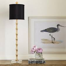 Candlestick Buffet Lamps by Gold And Black Blaine Glass Lamp