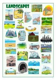 picture dictionary on landscapes and landforms esl worksheets