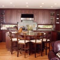 Kitchen Floors With Cherry Cabinets Cherry Oak Wooden Kitchen Cabinet And Island Plus Brown Wooden