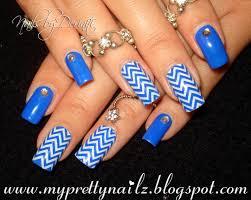 royal blue chevron print bps rhinestone studded easy nail art