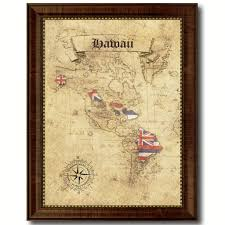 Hawaii Home Decor Hawaii State Vintage Map Art Office Wall Home Decor Rustic Gift