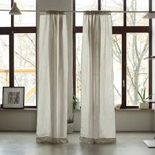 stone washed rod pocket linen curtain panel by linenme