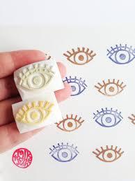 eye stamp set hand carved rubber stamps diy birthday wedding