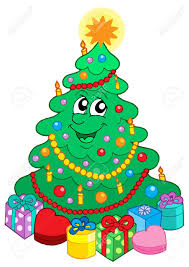 smiling cute christmas tree with gift vector illustration