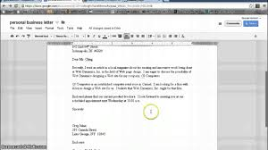 Business Letter Modified Block Format by Personal Business Letter Format Google Documents Youtube