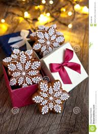 christmas present in gift box gingerbread cookies with decoration