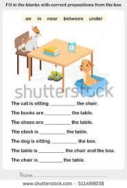 fill blanks correct prepositions preposition worksheet stock