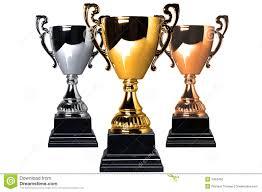 Fabuloso Troféus Da Prata E Do Bronze Do Ouro Foto de Stock - Imagem de  &DA13