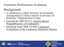 kentucky transportation cabinet jobs kentucky transportation center contractor performance evaluations s
