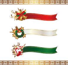 christmas ribbon banners with snowflake borders vector vector