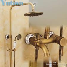 Shower Sets For Bathroom Antique Brass Wall Mounted Mixer Valve Rainfall Shower Faucet