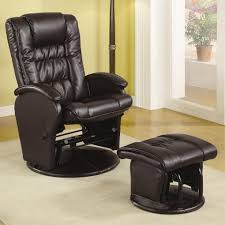 Glider Recliner With Ottoman Recliners With Ottomans Casual Leather Like Glider With Matching