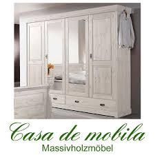 Schlafzimmerschrank Zerlegen Massivholz Kleiderschrank Kiefer Massiv Roland Ii 4 Türig Weiß