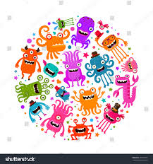 Cartoon Halloween Monsters Halloween Cute Monsters Microbes Cartoon Vector Stock Vector