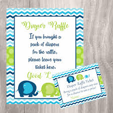 baby shower diaper raffle cards and sign blue and green elephants