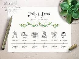 wedding itinerary wedding timeline printable wedding itinerary template green