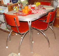 Retro Red Kitchen Chairs - chrome dinette table and 4 chair set graphic red apples 1930 u0027s