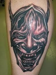 hannya mask tattoo black and grey japanese mask black gray tattoo tattoo design black and grey