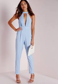 powder blue choker split front jumpsuit powder blue missguided australia