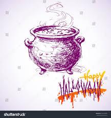 hand drawn sketch black witch cauldron stock vector 324192206