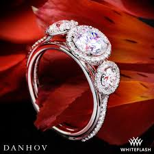 halo rings red images Danhov le101 per lei three stone halo engagement ring whiteflash jpg