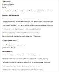 sample resume for a nursing home cook resume ixiplay free resume