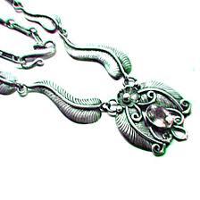vintage silver pendant necklace images Vintage amethyst flower and leaf pendant necklace 925 sterling jpg