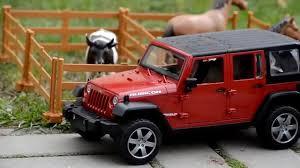 bruder farm toys bruder toys jeep wrangler with horse trailer farm youtube
