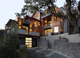 appealing luxury hillside homes design presenting wooden slate