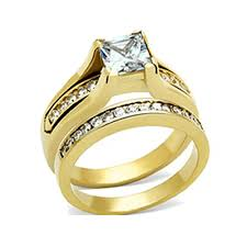 Wedding Rings Sets For Women by His U0026 Hers 3 Pcs Gold Plated Men U0027s Matching Band Women U0027s Princess