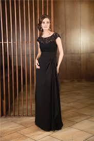 illusion neckline long black chiffon lace mother of the bride