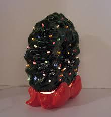 Vintage Atlantic Mold Ceramic Christmas Tree by Vintage Ceramic Christmas Wreath With Faux Plastic Lights Lit Up