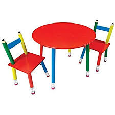 Pencil Furniture Childrens Table Chair Set 3 Piece Pencil Leg Kids