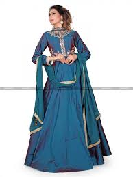 iconic peacock blue full lenth gown style designer salwar kameez