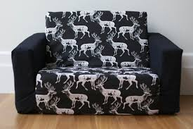 kids flip out sofa cover white on black deer print monochrome